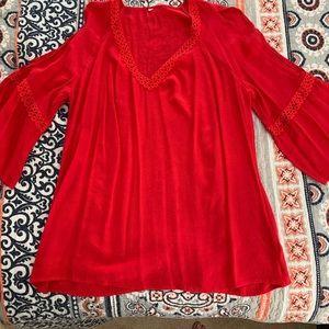 Red, cold shoulder boho shirt